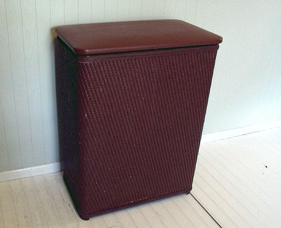 Vintage Large Brown Wicker & Wood Clothes Hamper