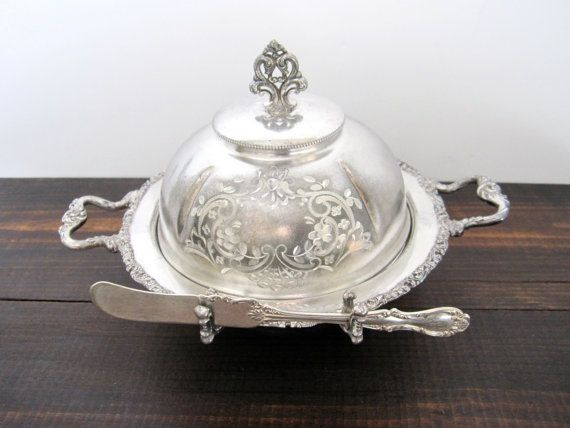 victorian butter dish | Victorian Butter Dish with Knife Rest by Homan Silverplate Co., Late ...