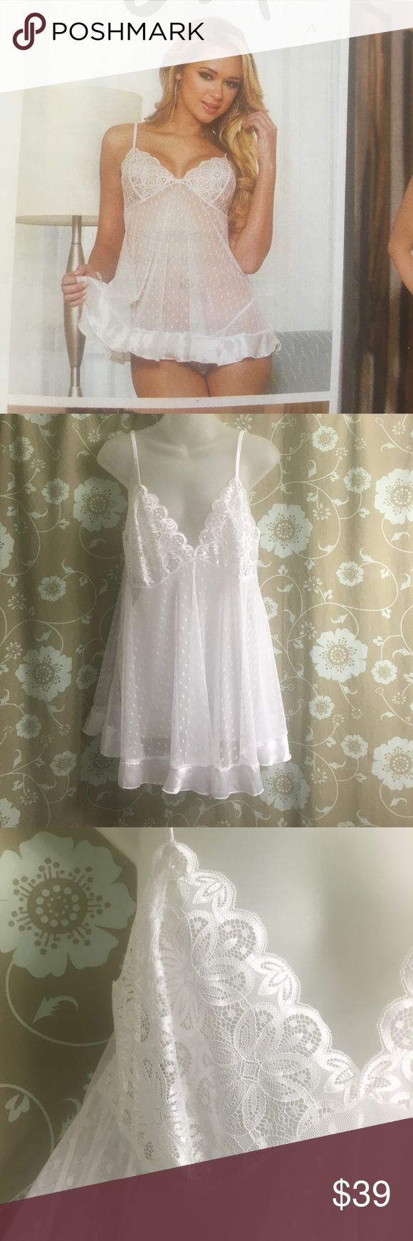 Bridal New White babydoll lingerie, matching thong Adorable soft lace babydoll with trim. Matching thong attached. Perfect for bride to be. New! Dreamgirls brand from Pure Romance. Former consultant trying to move stock. 2x shown, also available in small. Adjustable straps. dreamgirls Other