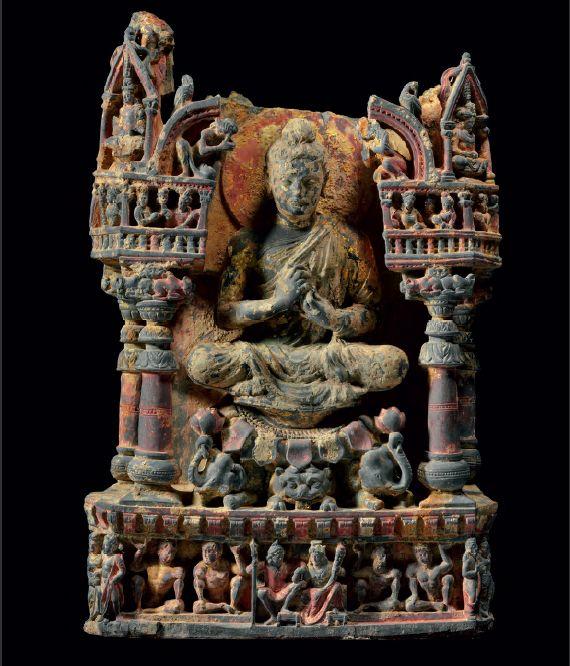 gilt and polychromed gray schist figure of the Teaching Buddha Gandhara, 2nd/3rd century.