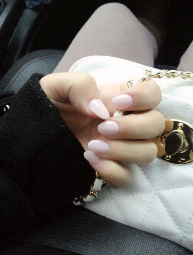 Light pink oval nails