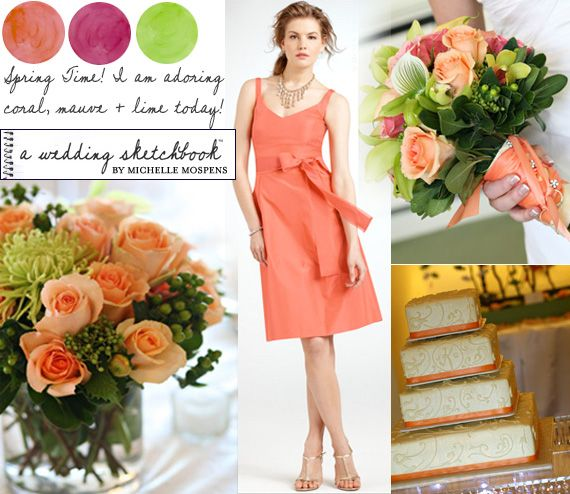 Perfect for Your Spring Wedding :: Coral, Mauve + Lime Green