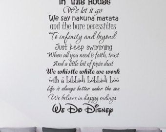 In this House We do Disney Wall Decal -Disney Wall Quotes-Wall Vinyl Decal-Wall Decor-Wall Art-Wall Words-Disney Saying-Wall Stickers by VinylDesignsForYou