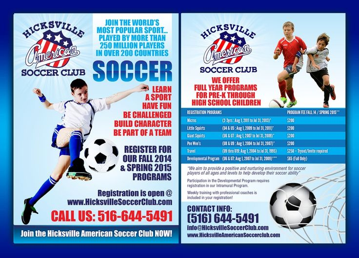 Create a catchy flyer for youth soccer club! Fun and