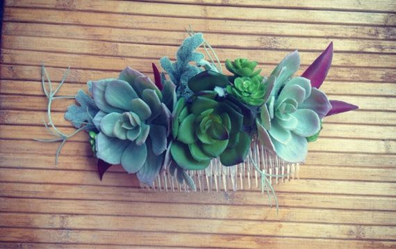 Gorgeous handmade succulent crowns and combs for brides, races and flower children of all kinds.    This item is made to order an can be