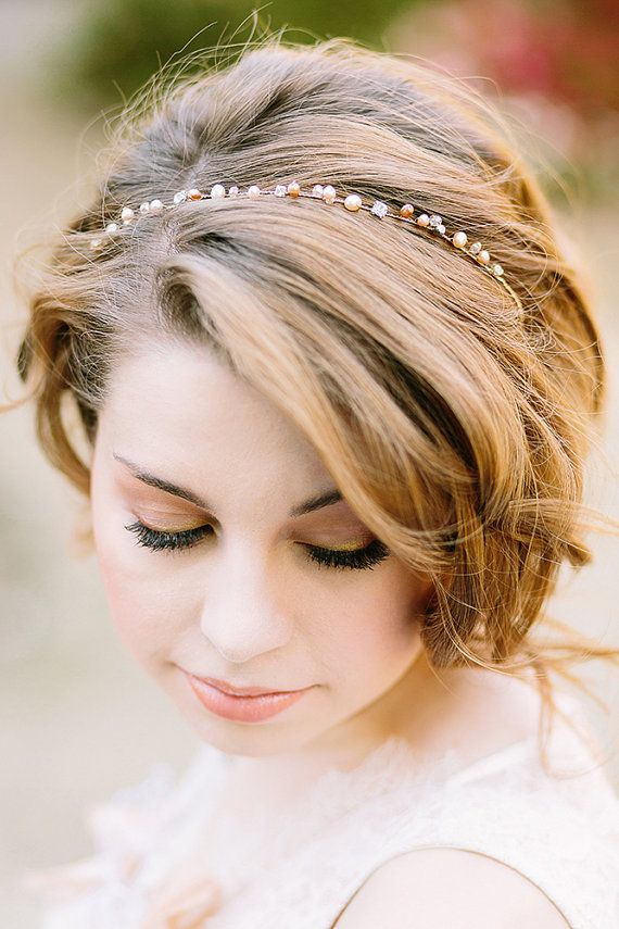Headband with pearls and crystals - delicate and lightweight, organic design by One World Designs Bridal Jewelry. Photo by UMEUS photography.