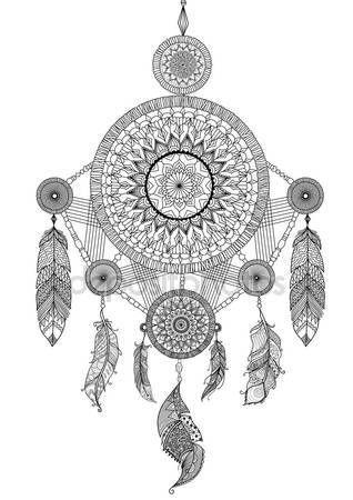 Lineart diseño de atrapasueños hermoso único de ilustración y libro ...