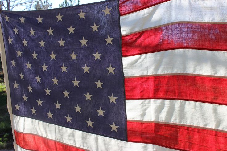 """American Flag, 50 Star Flag, Faded Old Glory, Large American Flag 45"""" x 69"""", Faded American Flag by objectsofvirtu on Etsy"""