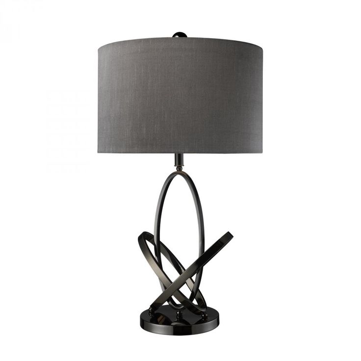 Black nickel metal is molded into a kinetic effect that compliments it's smokey grey shade. This table lamp by Diamond is ideal for a family room or bedroom!