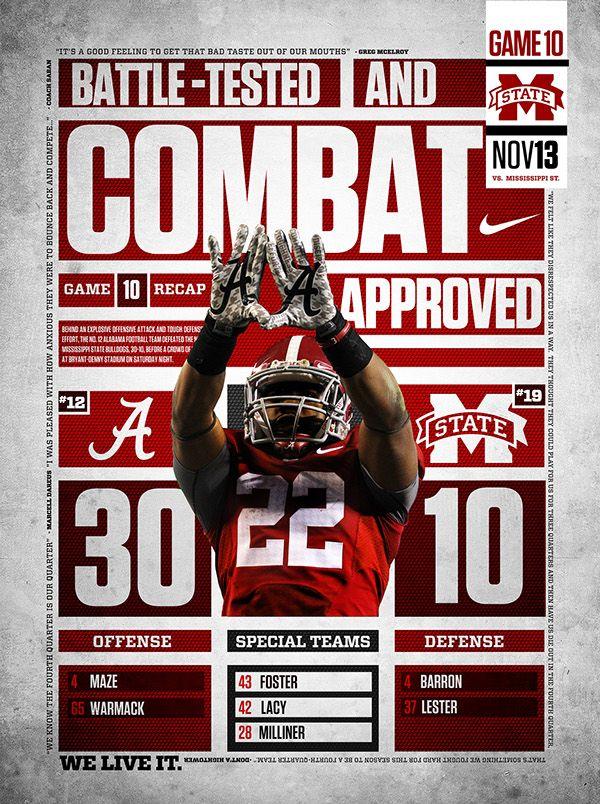 Posters created after each victory of the 2010 Alabama Football Season. Sayings on each poster were taken from post-game quotes.