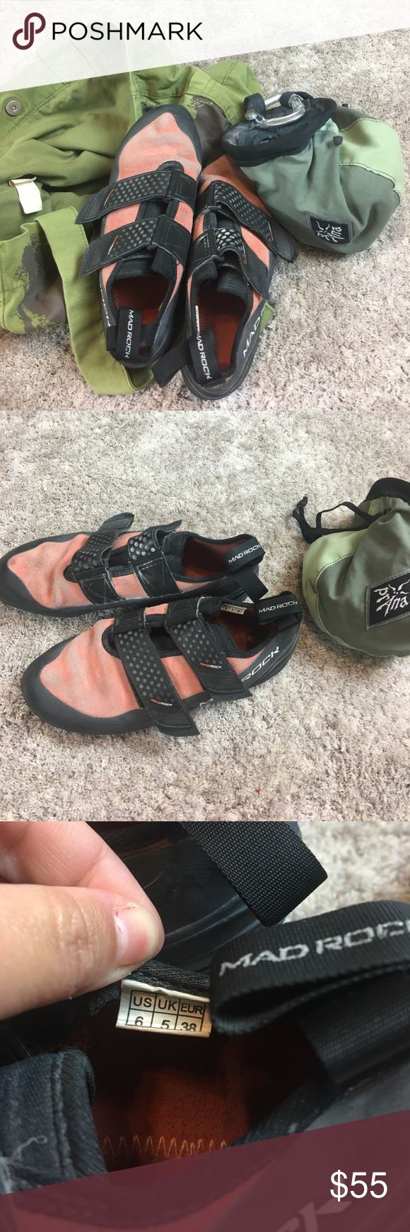 Mad Rock Climbing Shoes Prana Chalk Bag Bouldering Good condition, pre loved rock climbing shoes. Mad rock women's size 6. Orange and black. Prana chalk bag, with chalk included & carabiner clip. Have been stored in bike tote bag, so will include that. Prana Shoes Athletic Shoes