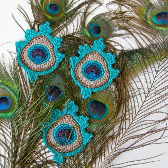Crochet Peacock Feather Applique or Motif in blue - my original crochet design - READY TO SHIP