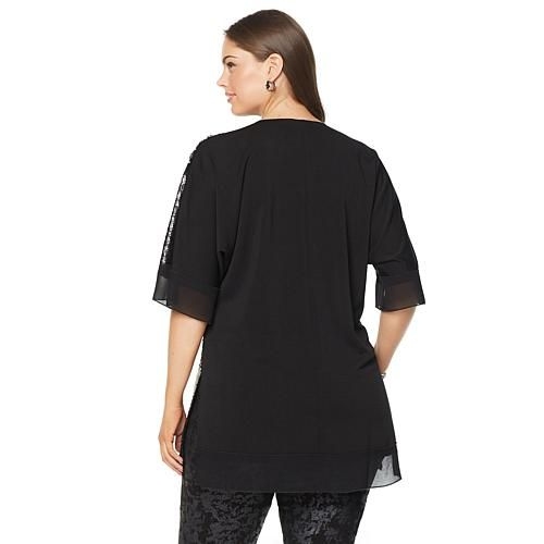 Melissa McCarthy Seven7 V-Neck Sequin Top - Black