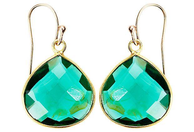 Kelly Green Gem Teardrop Earrings on OneKingsLane.com
