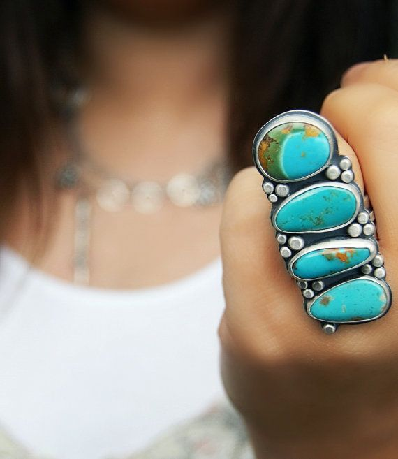 Bubbles of Life - Turquoise Sterling Silver Ring