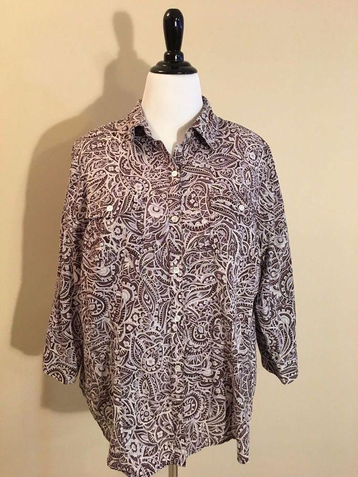 Liz & Co. Purple & Brown Geometric Button Down Oxford Shirt Women's 2x 20W 22W #LizCo #ButtonDownShirt #Casual