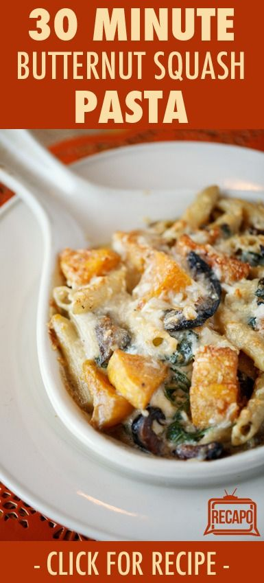 Check out this Rachael Ray recipe for Butternut Squash & Parsley Penne Recipe on her show. She said that butternut squash is a perfect fall vegetable. It is a 30-minute meal, so you can make it quickly and have it ready to go as a weeknight dinner.