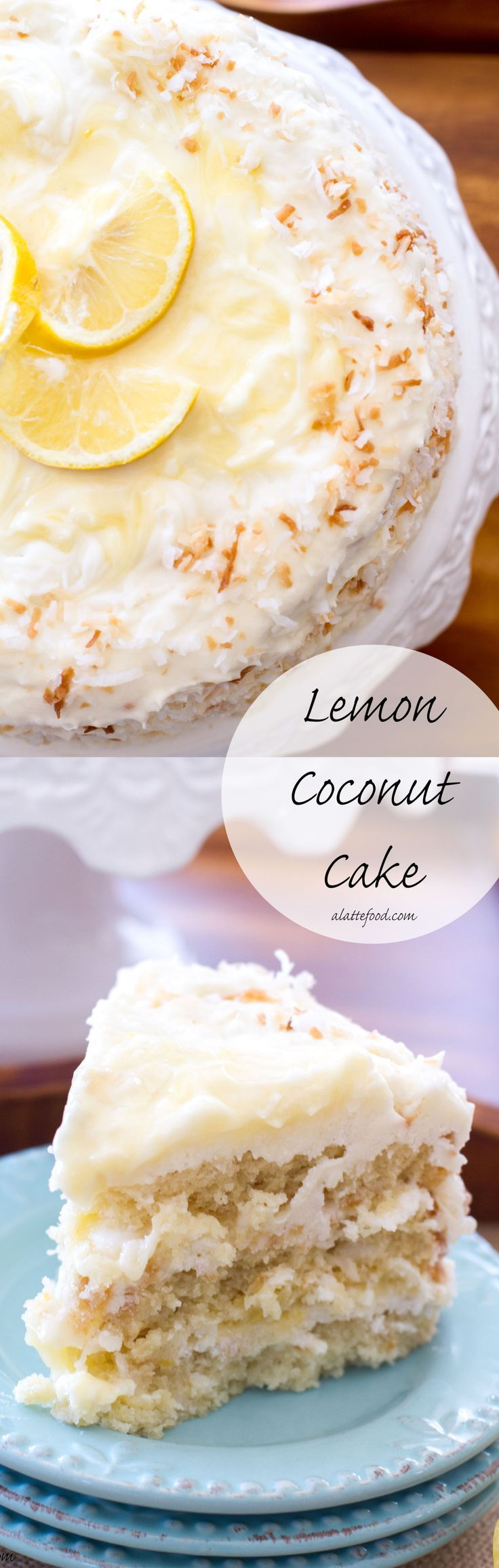 This classic coconut cake is filled lemon curd and topped with a lemon cream cheese frosting! | www.alattefood.com