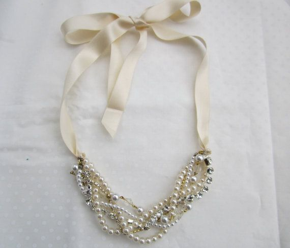 Pearl and Rhinestone Bridesmaid Necklace With by AllThingsTinsel, $50.00