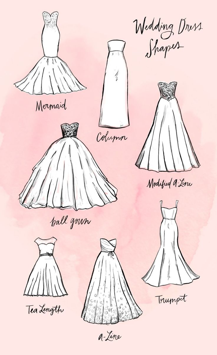 When searching for a wedding dress, the amount of choices can be somewhat overwhelming — especially so when youre first starting to shop. What is the difference between all the different styles? We had the same questions, which is why we did some research and created this guide — complete with easy-to-understand illustrations and shopping options — for each distinct silhouette.