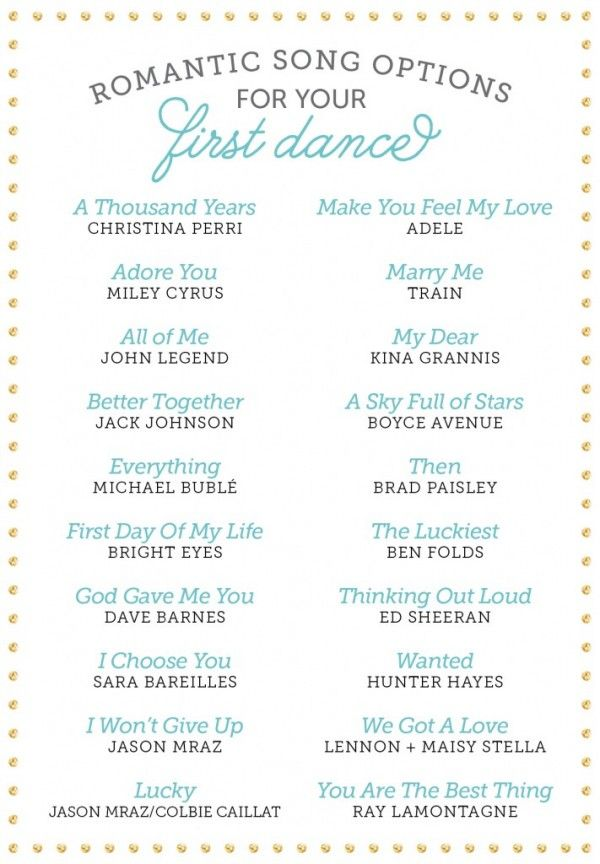 Romantic Songs For Your First Dance Bridal Guide Wedding Community