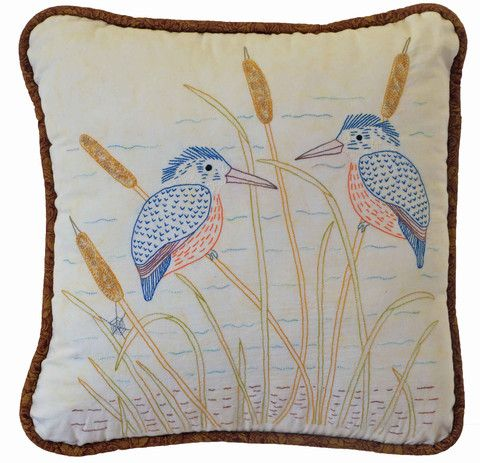 $7  The Kingfisher is number 4 in our Aussie Bird series of stitcheries.   I use a combination of DMC threads and a varigated range of hand dyed standed cottons from Cottage Garden Threads which we also have available for purchase.