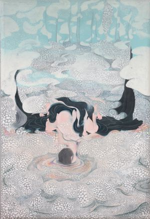空のカーテンと虹色の石 by 樫木知子