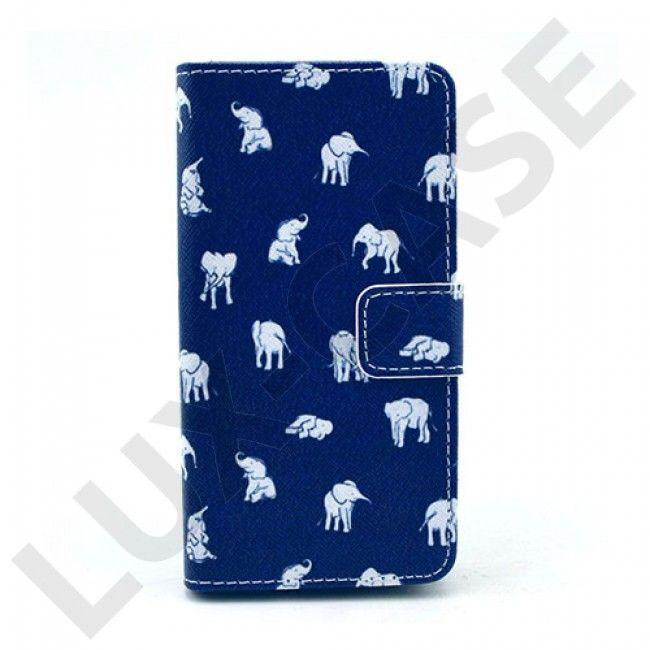 Moberg Sony Xperia Z3 Kompakt Lær Flipp Etui - Hvit Elefants Blå Background