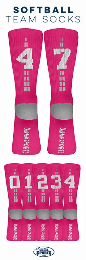 Check out our awesome softball team number crew socks! The perfect end of season gift for your softball team. These socks are mid-calf , and woven with thick material!