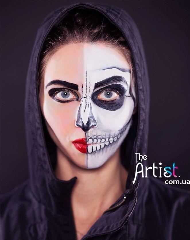 halloween party face design http://theartist.com.ua/ Аквагрим на Хэллоуин Киев, грим на Halloween, страшный макияж, маска скелет, заказать киев, череп