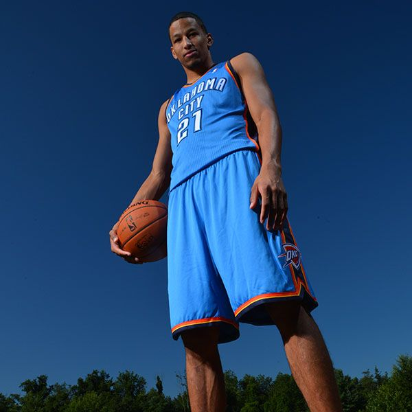 Andre Roberson of the Oklahoma City Thunder poses for a portrait during the 2013 NBA Rookie Photo Shoot on August 6, 2013 at the MSG Training Facility in Tarrytown, New York. (Photo by Jesse D. Garrabrant/NBAE via Getty Images)
