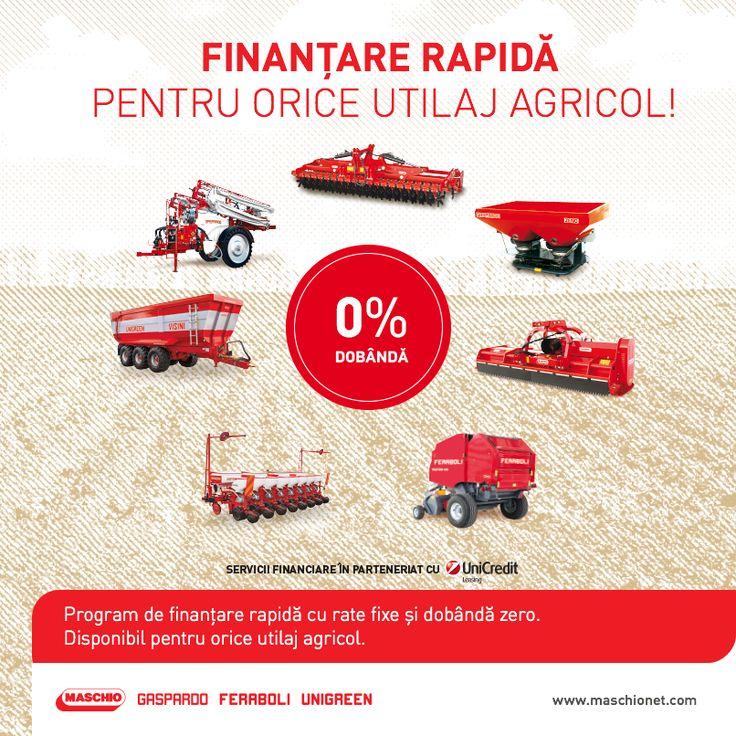 Împreună cu Unicredit, îți punem la dispoziție programul de finanțare cu 0% dobândă prin care poți să achiziționezi orice utilaj agricol Maschio Gaspardo. Nu mai sta pe gânduri și fă acum investiția sustenabilă pentru viitorul fermei tale!