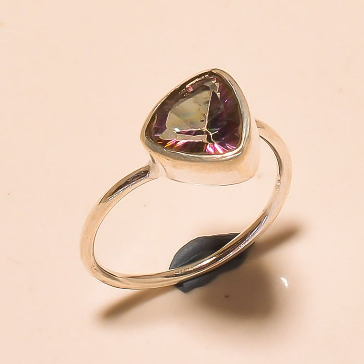 92.5% SOLID STERLING SILVER PRETTY FACETED MYSTIC TOPAZ RING (Adjustable)  #Handmade