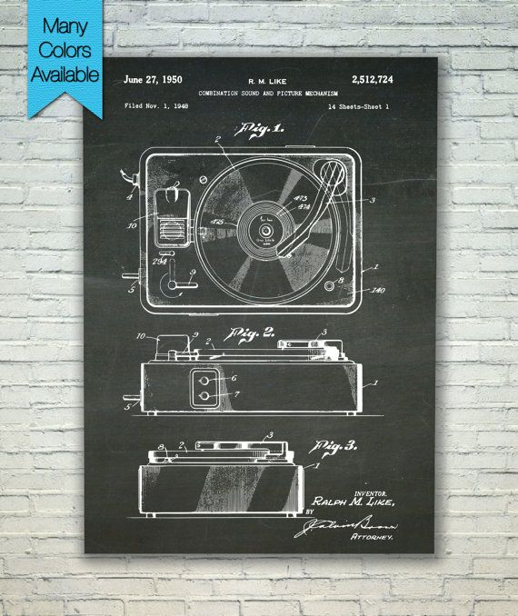 Record Player Patent, Music Wall Art, Music Room Decor, Music Poster, Music