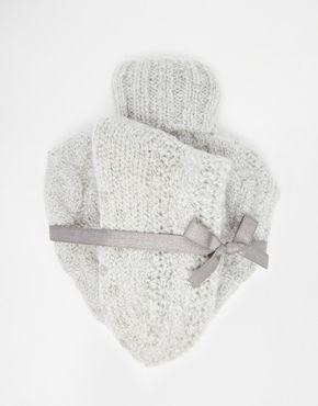 ASOS Christmas Knitted Heart Hot Water Bottle And Socks Set