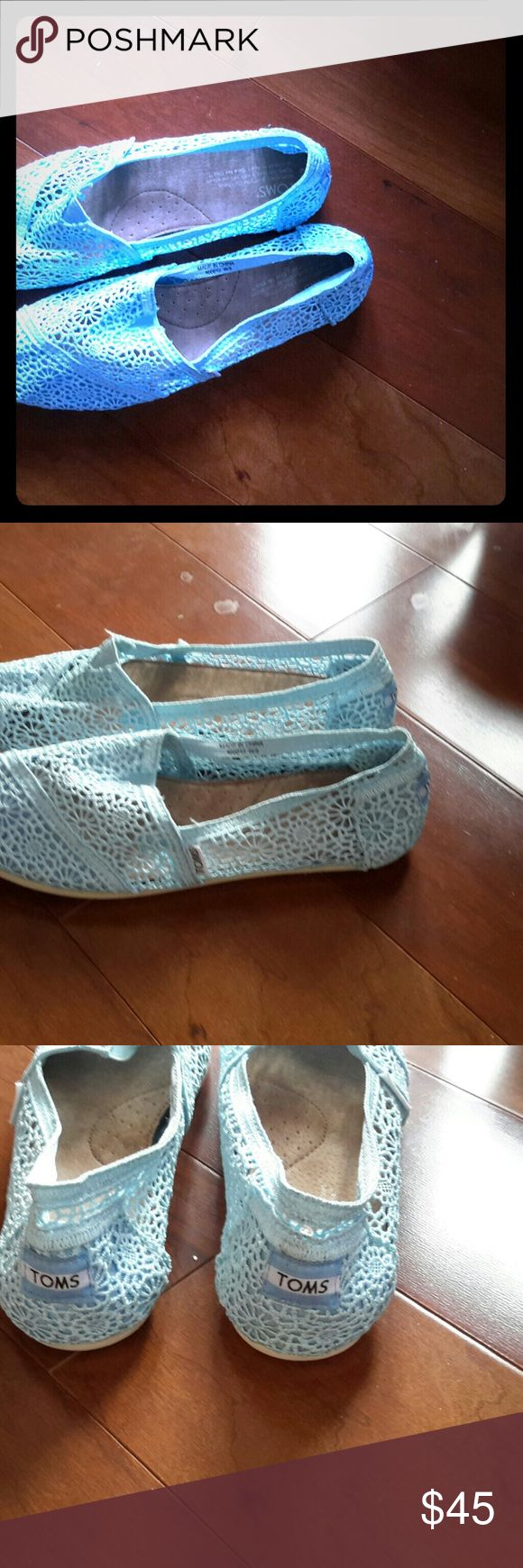Authentic Toms Crochet Shoes, light blue, 9 Toms Crochet light blue shoes, size 9. Yes, I know it's winter, but these are a steal! Classic, feminine TOMS Shoes Espadrilles
