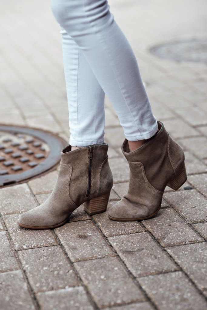 Neutral suede booties for spring