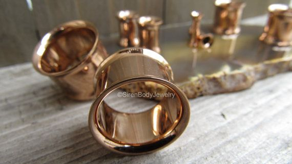 Rose gold plugs tunnel earrings 0g gauges ear by SirenBodyJewelry
