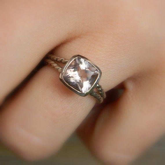 Morganite Rapunzel Ring in Palladium 14k White by onegarnetgirl, $968.00