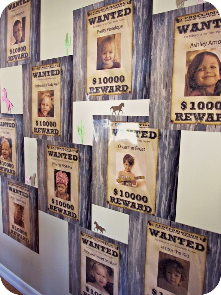 'Wanted' wall, such a cute idea - with all the guests photos and cute little Wild West names for them all!
