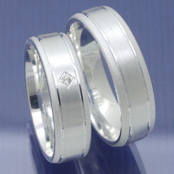 Mattierte 925 Silber Verlobungsringe Freundschaftsringe / Modell P6226792