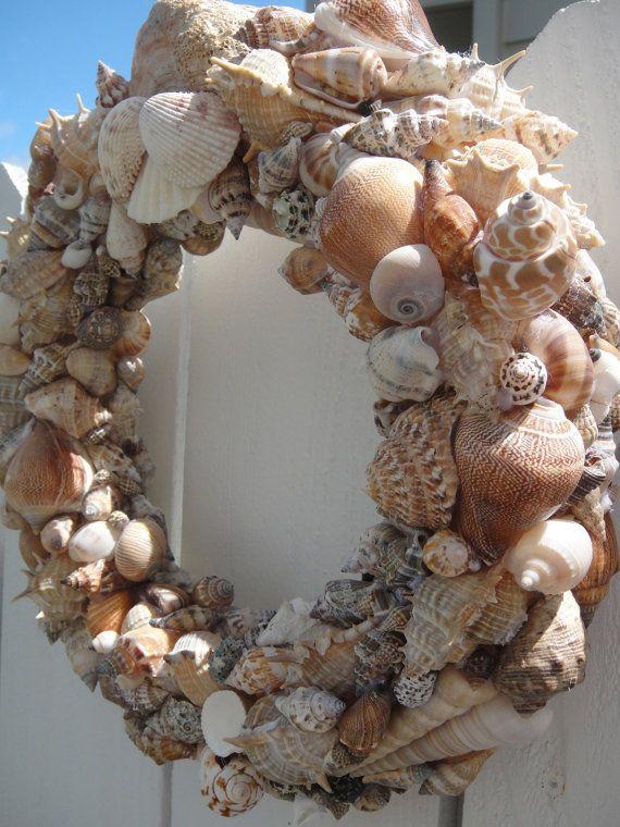 Do It Yourself Home Design: Sea Shell Wreath Beach Decor Hand Crafted Sea Shell Wreath
