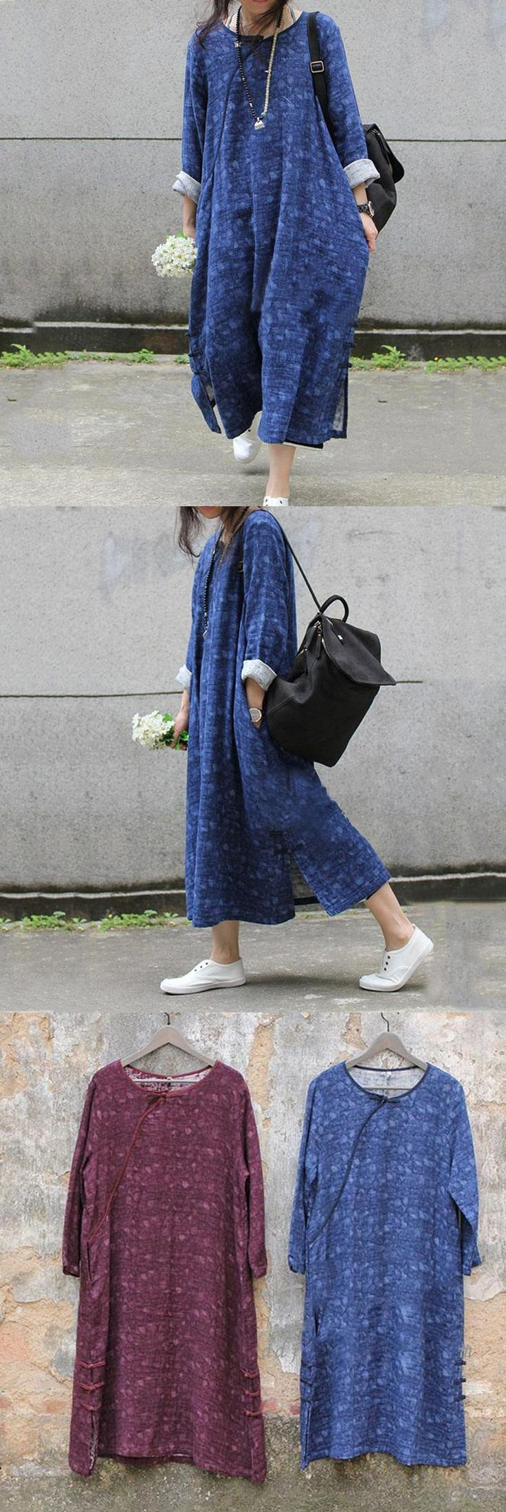 Flash sales: Women cotton linen loose autumn print dress. It's made of cotton and linnen fabric.now A Big Discount! what are u waiting for ? just do it!!! buykud.com
