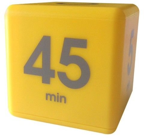 TimeCube Datexx Time Cube - Yellow: 5, 10, 20 & 45 minute timer settings.Just turn the cube face-up to the desired preset time to start the countdown. The Time Cube will beep when time is up, then flip the cube back to zero to stop the timer. It's that easy. No buttons or switches to set. You can also monitor the time remaining with the built-in countdown timer window.Great Tool For Teachers:  The Perfect Workout Timer