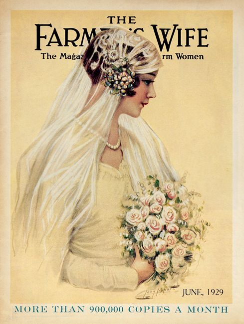 "June 1929 - A 1929 pastel of a young bride on the cover of ""The Farmer's Wife Magazine"" typified Lippert's penchant for painting beautiful women. The artist's daughter-in-law, Esther Weigel Lippert, is thought to have been the model."