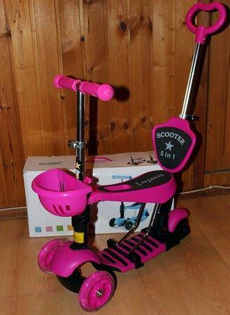Самокат детский трехколесный от 2 лет scooter  5 в 1 розовый