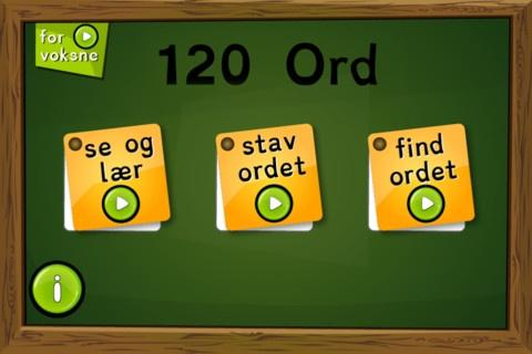 Lær de 120 ord, lær at skrive og stave dem. Appen koster 12 kr.
