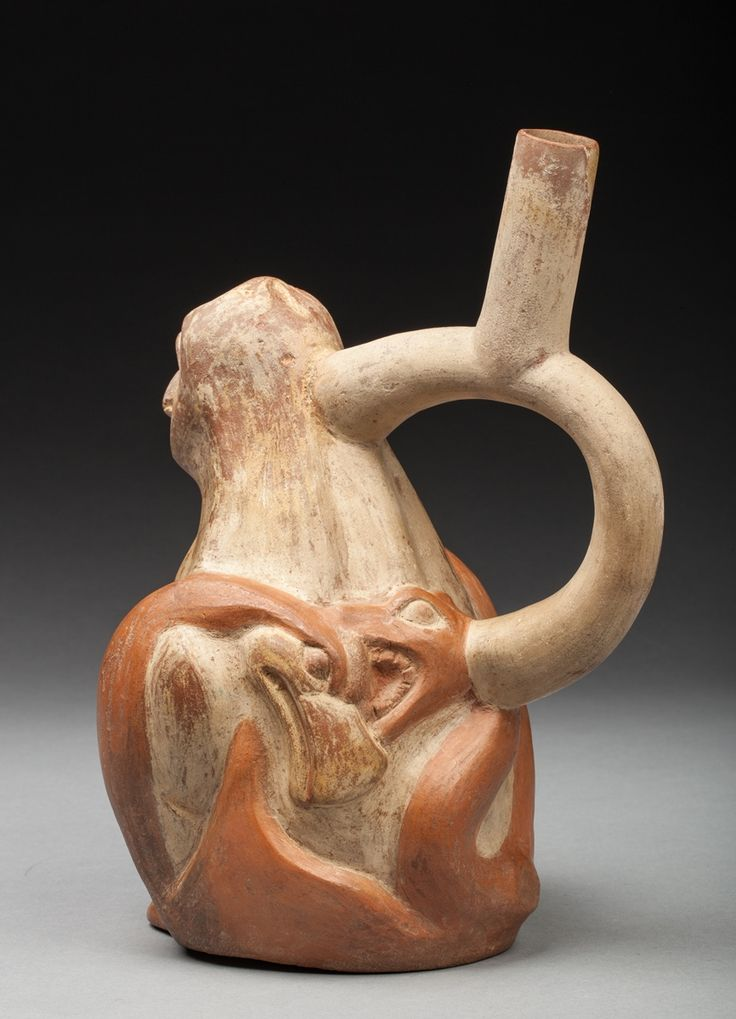 snake confronting an eagle moche peru a private