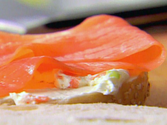 Smoked Salmon and Vegetable Cream Cheese Bagels from FoodNetwork.com