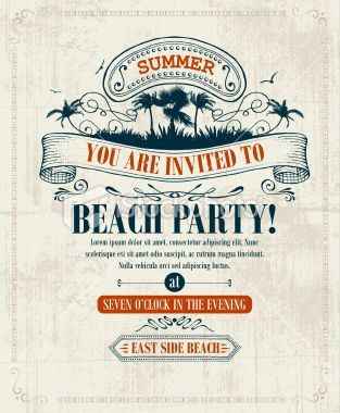 Vintage Summer Invitation Royalty Free Stock Vector Art Illustration